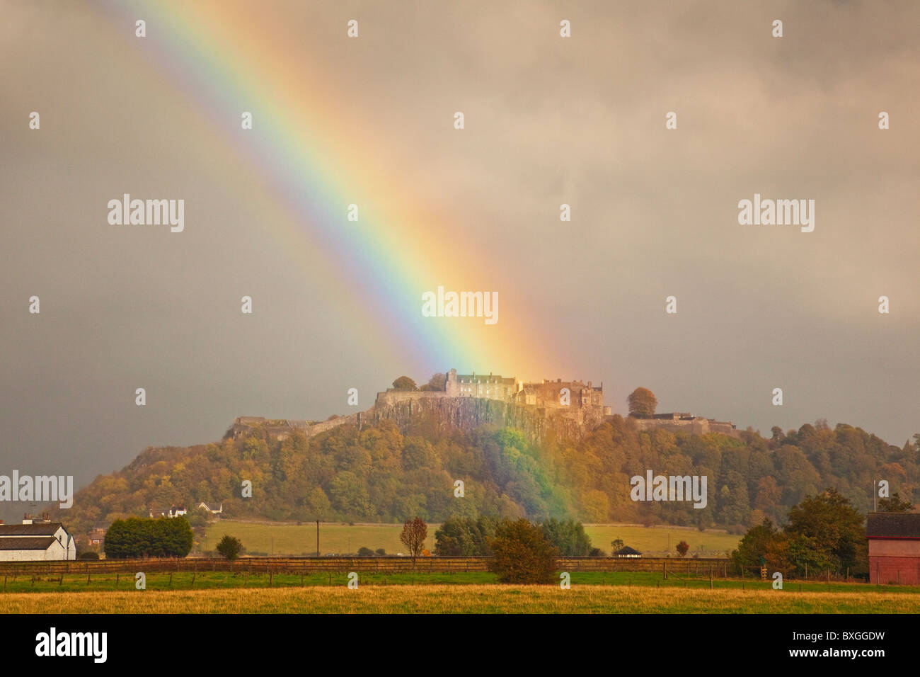 Rainbow over Stirling Castle Stock Photo
