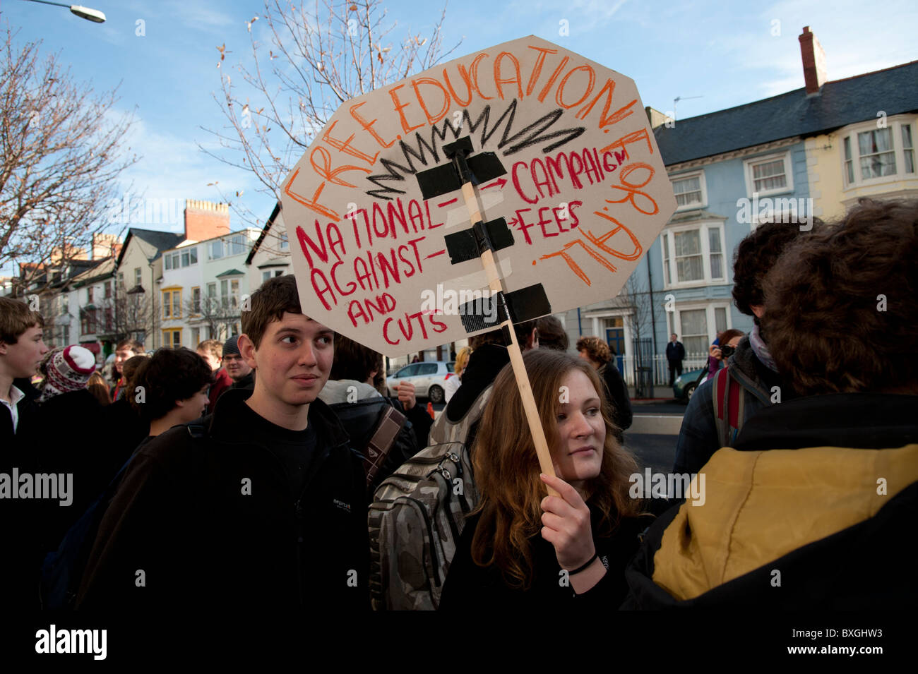 University, college and school students protesting against the governments cuts in higher education funding Aberystwyth - Stock Image