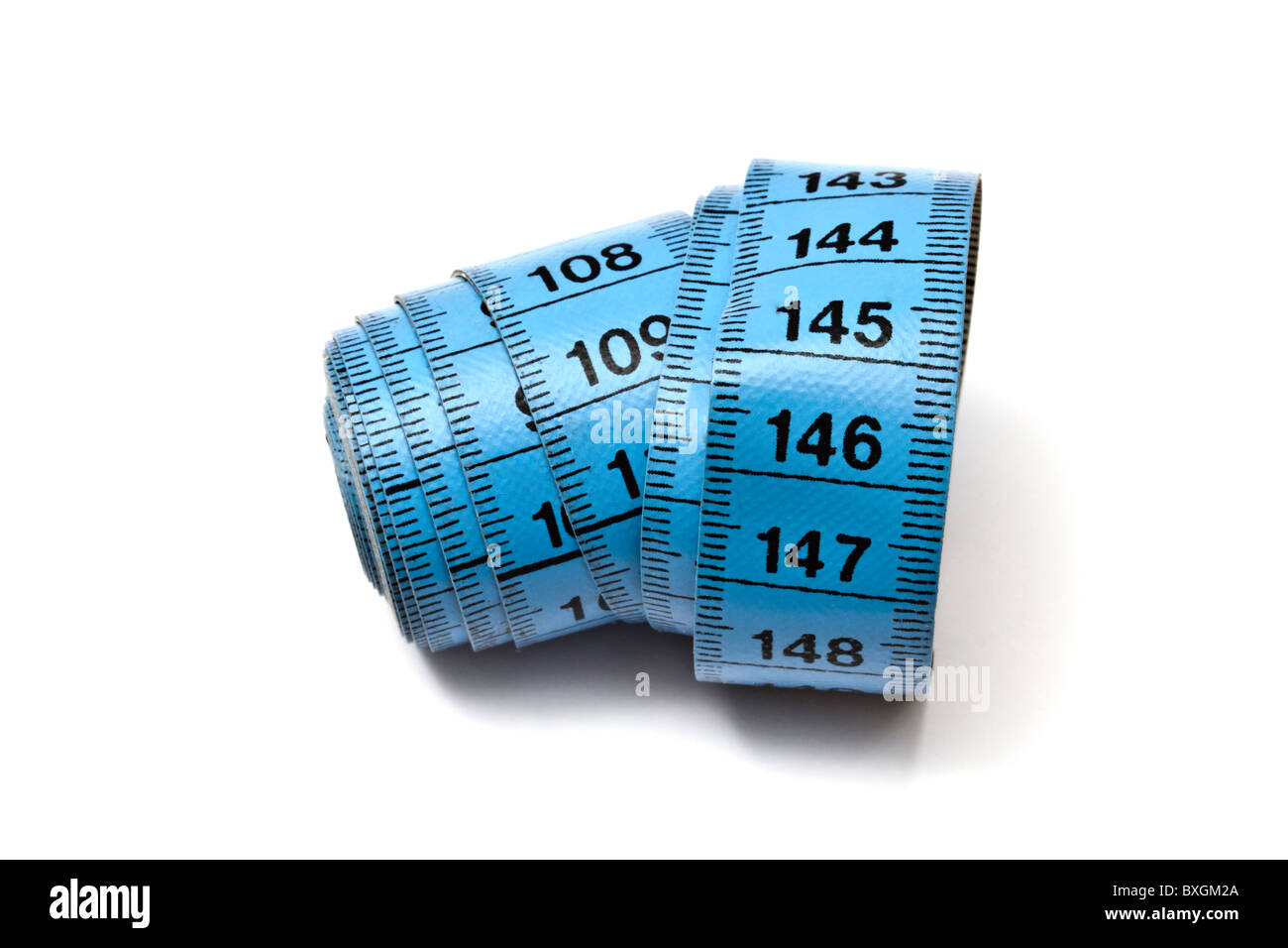 Blue tape measure isolated on white background - Stock Image