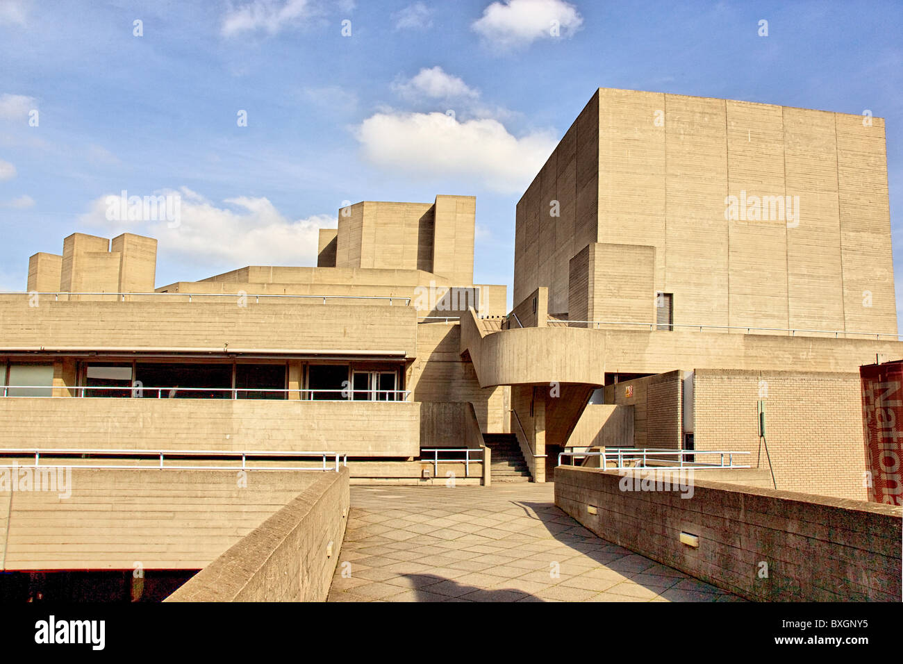 Cuboid concrete architecture of the National Theatre on the South Bank of the Thames in London - Stock Image