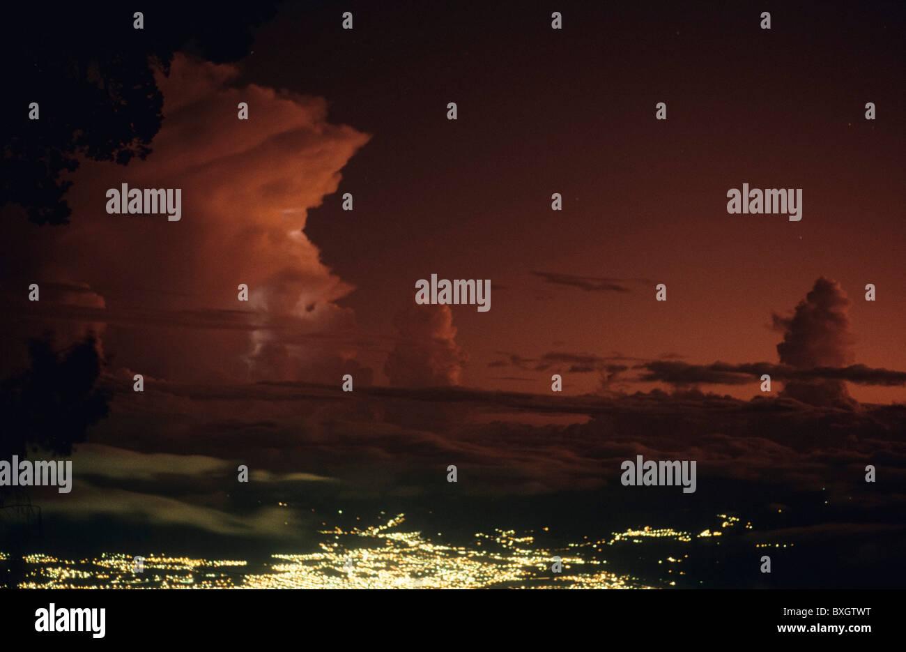 Costa Rica, Irazu, landscape, san jose, thundercloud, night, lights, city, clouds, stars - Stock Image