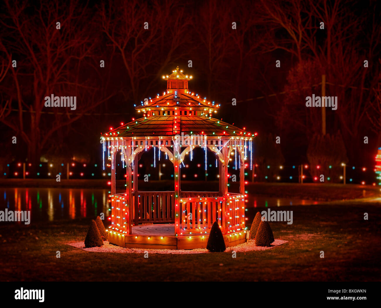 gazebo decorated with christmas lights koziars christmas village bernville pennsylvania usa