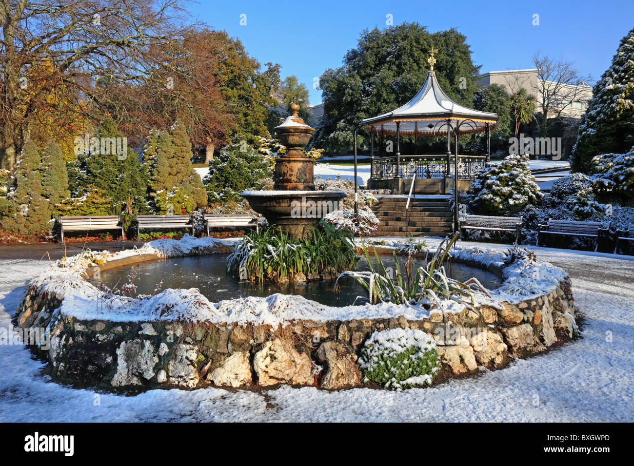 The Bandstand and water fountain in Truro's Victoria Gardens - Stock Image