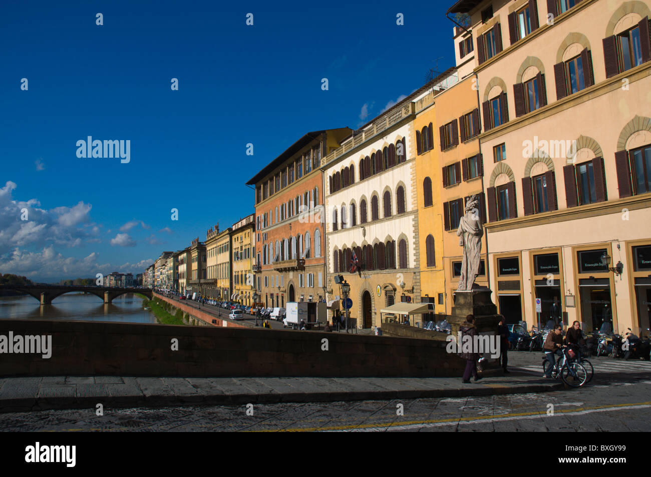 Ponte Trinita with riverside buildings Santo Spirito district Florence (Firenze) Tuscany central Italy Europe - Stock Image