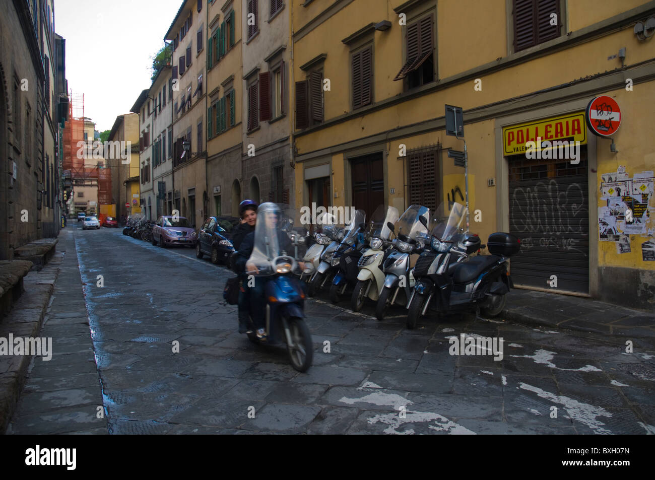 Scooter in Santo Spirito district central Florence (Firenze) Tuscany central Italy Europe Stock Photo