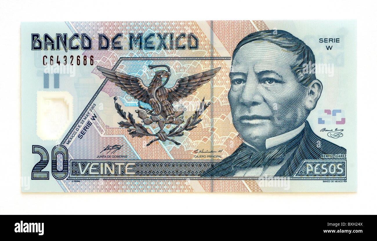 Mexico 20 Twenty Pesos Bank Note. Stock Photo