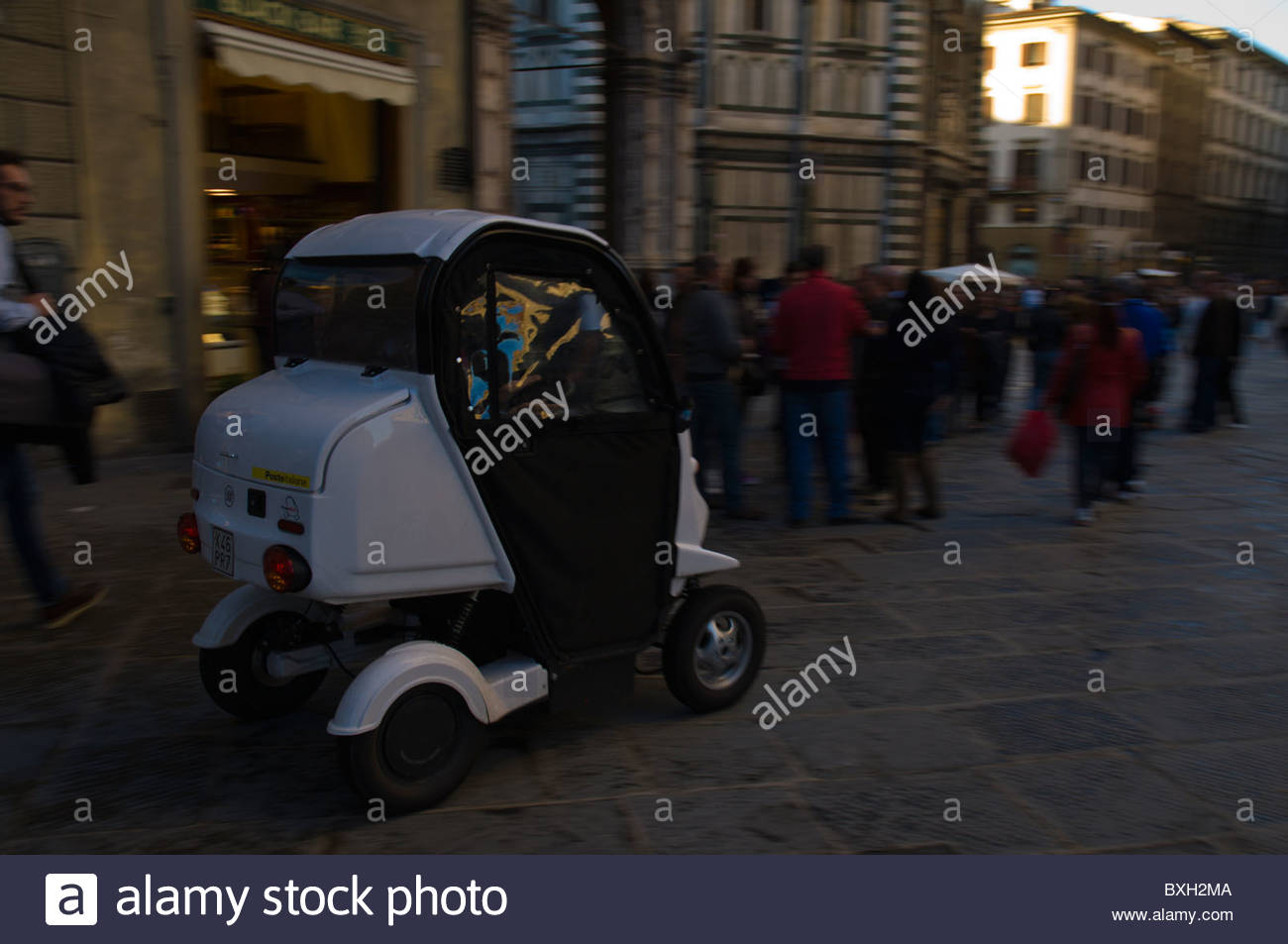 Postal delivery vehicle at Piazza del Duomo square Florence (Firenze) Tuscany central Italy Europe Stock Photo