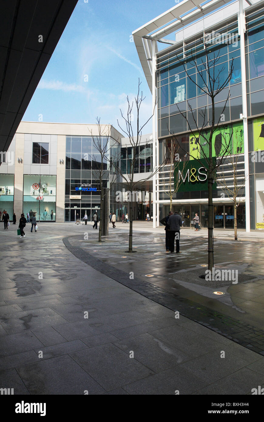 Urban landscaping within the shopping quarter of Eden Shopping Centre High Wycombe UK - Stock Image