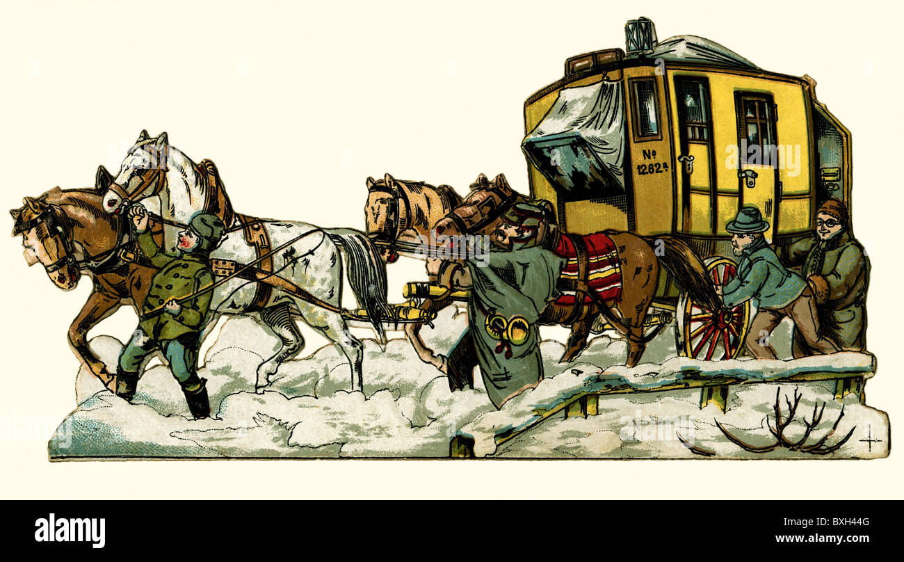 mail, post, mail coach, winter, Germany, circa 1875, Additional-Rights-Clearences-NA - Stock Image