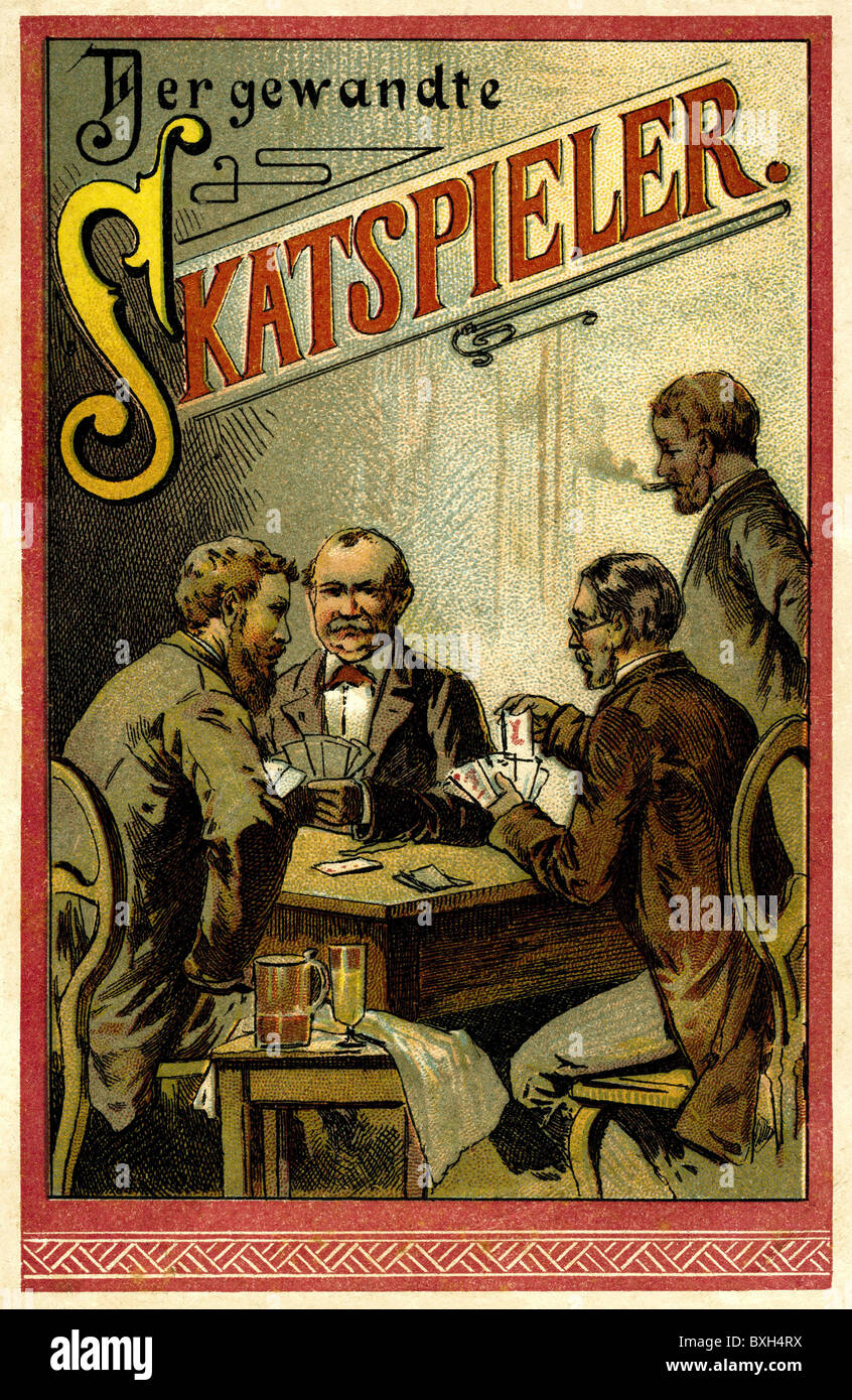 games, card game, The Skat Player, brochure, game instructions, Germany, circa 1902, Additional-Rights-Clearences - Stock Image