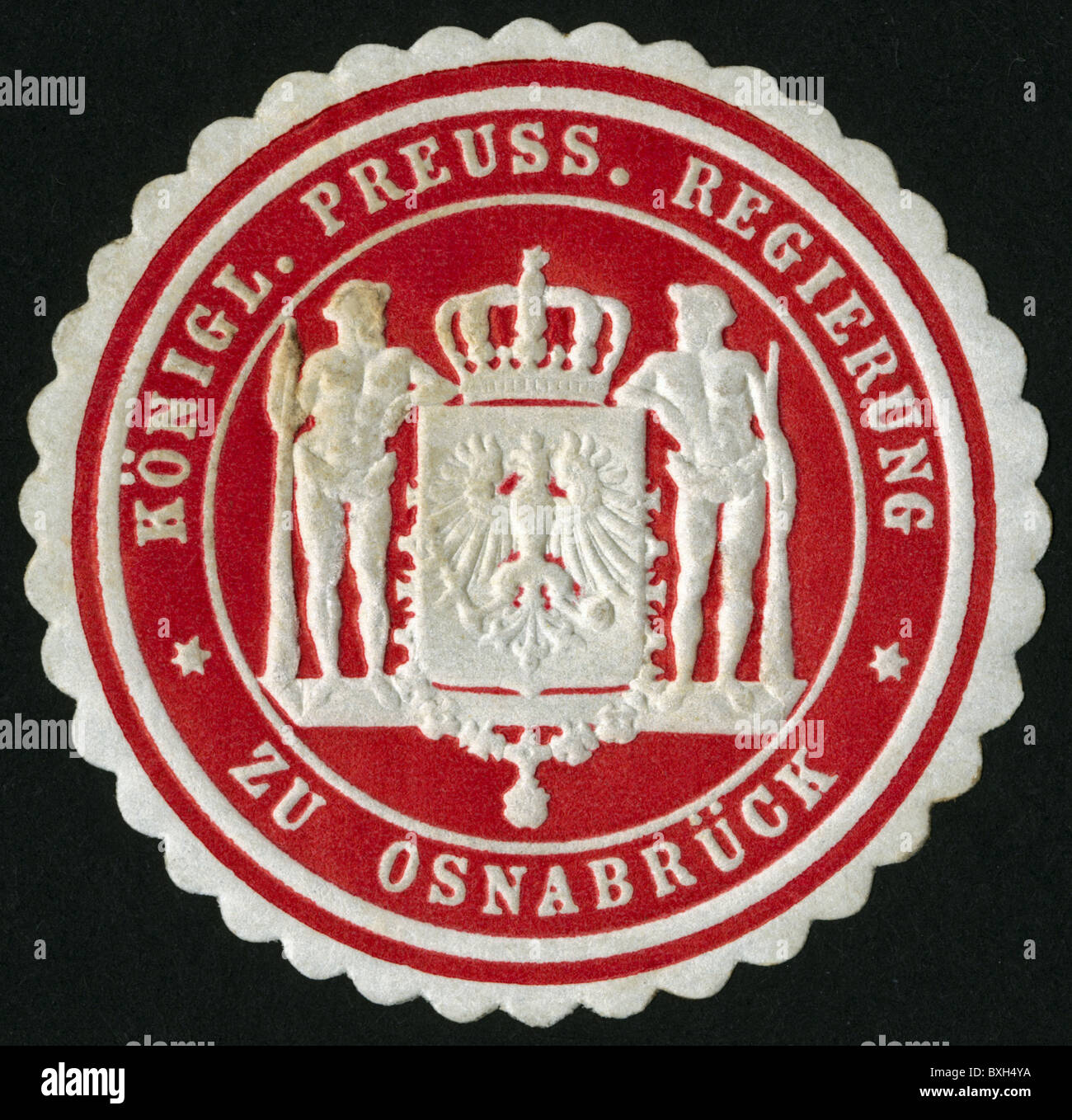 heraldry, seals, official seal of the Royal Prussian government of Osnabrueck, circa 1895, Additional-Rights-Clearences - Stock Image