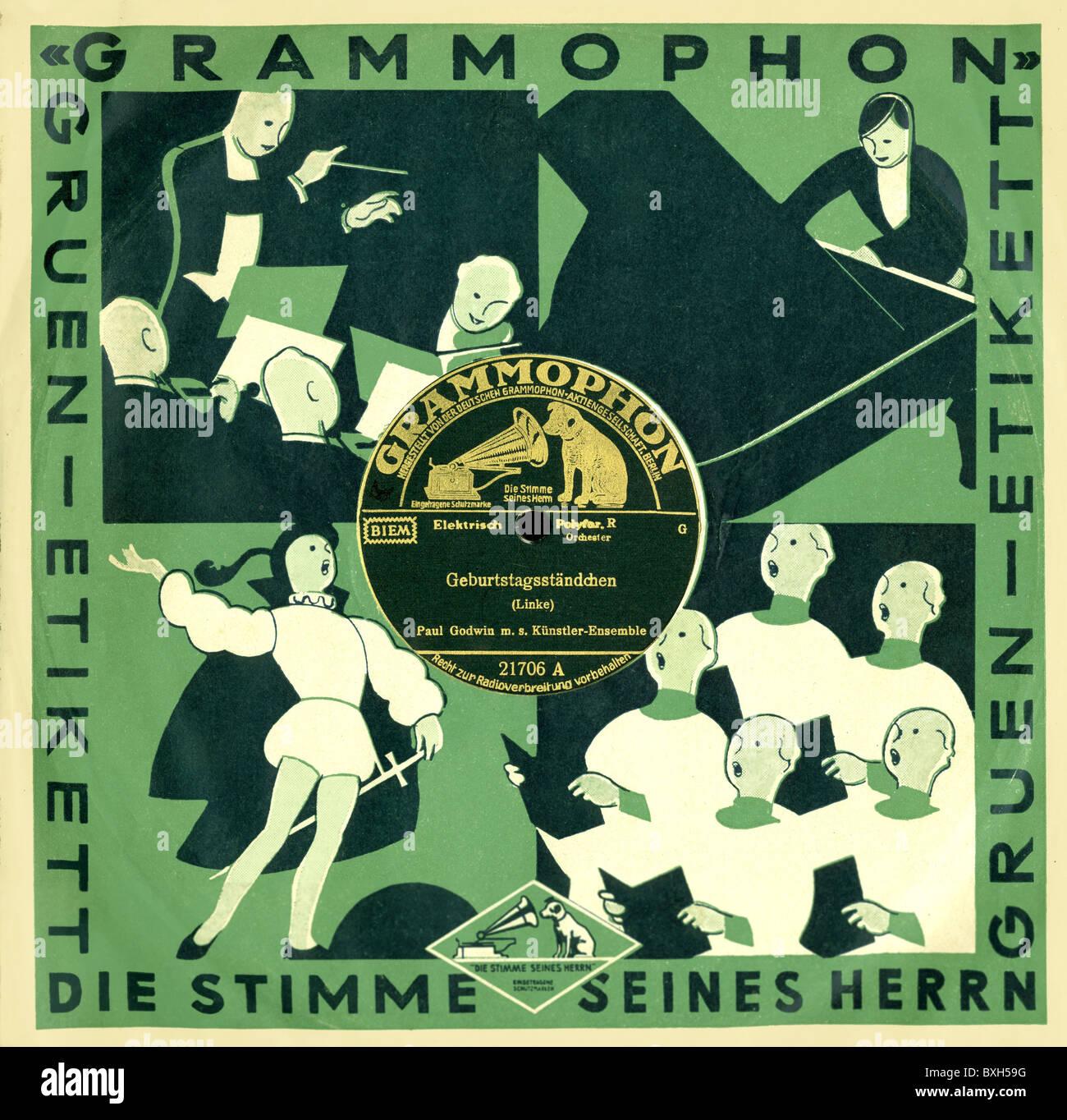 music, records, Grammophon, birthday serenades, by Paul Lincke, Deutsche Grammophon Aktien-Gesellschaft, Berlin, - Stock Image