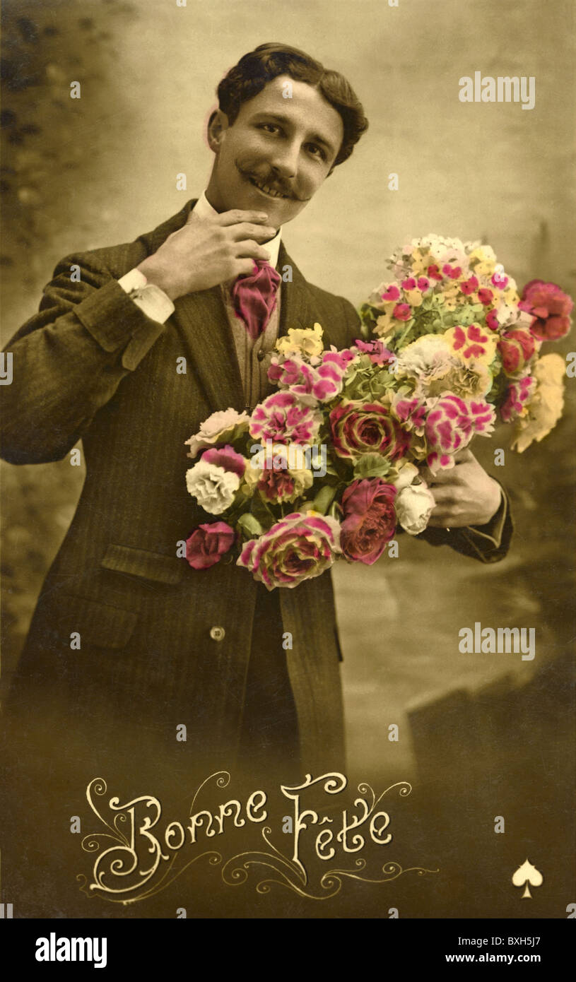 people, men, squire with bouquet, France, circa 1910, Additional-Rights-Clearences-NA - Stock Image
