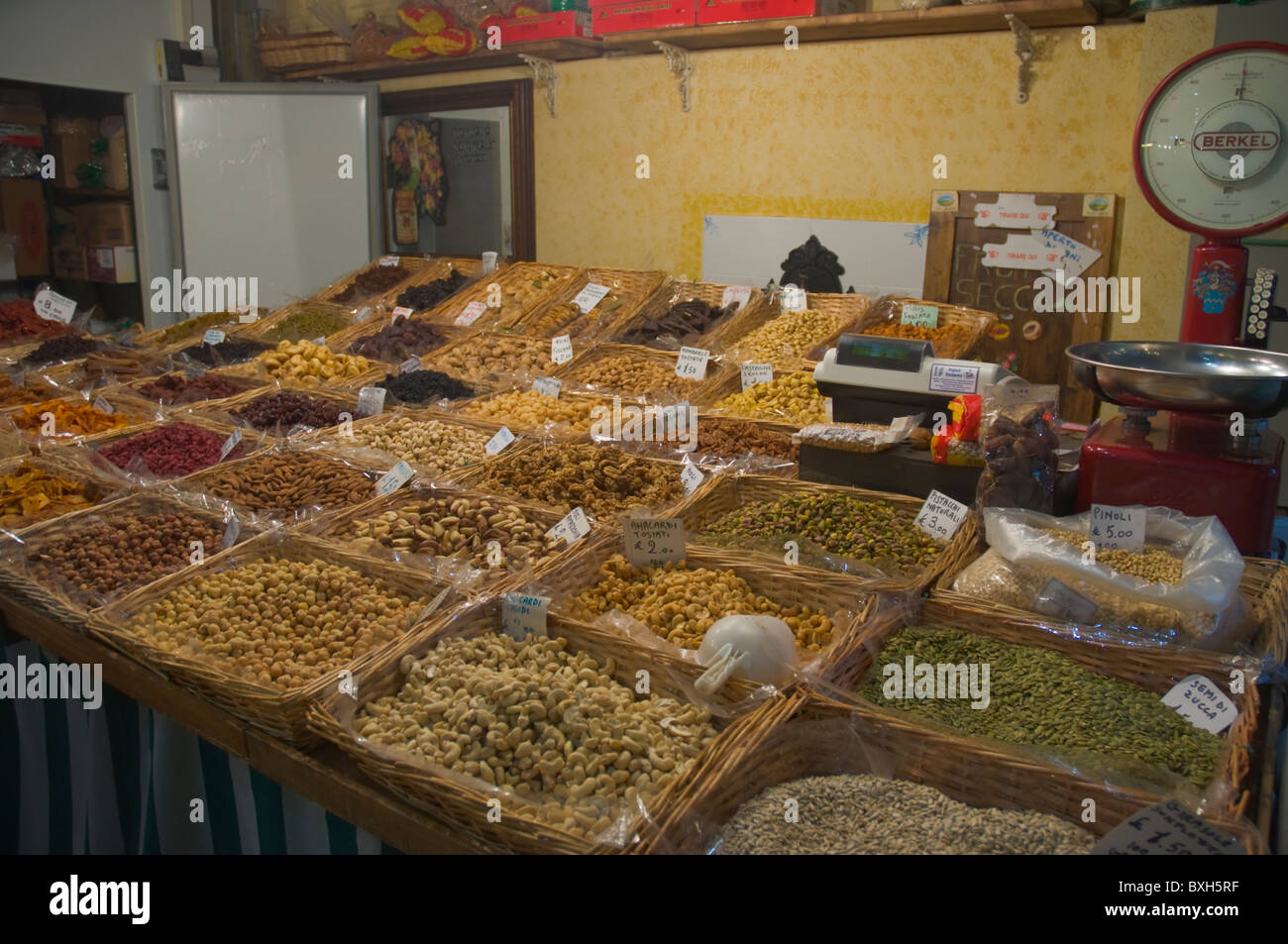 Nuts stall Mercato Centrale the central market Florence (Firenze) Tuscany central Italy Europe - Stock Image
