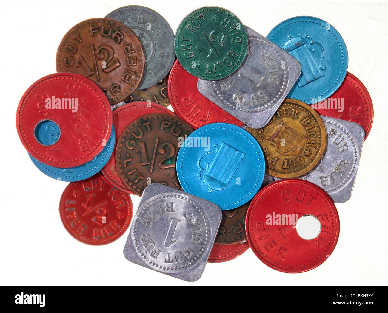 alcohol, beer, beer tokens, bons, Bavaria, Germany, 1900 - 1960, Additional-Rights-Clearences-NA - Stock Image