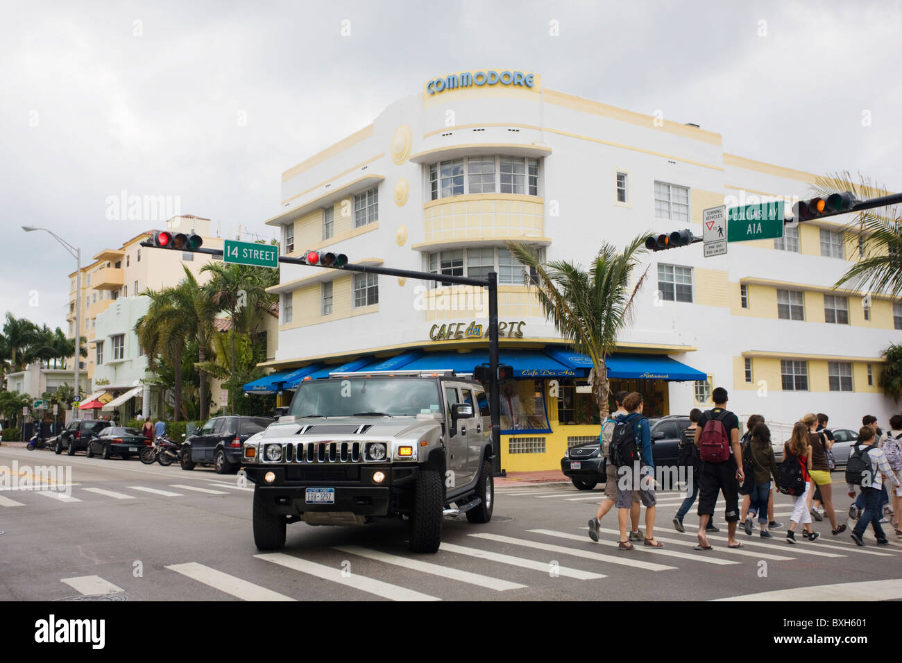 Hummer at corner of Collins Avenue and 14th Street by the Commodore and Cafe des Arts, South Beach, Miami, USA - Stock Image