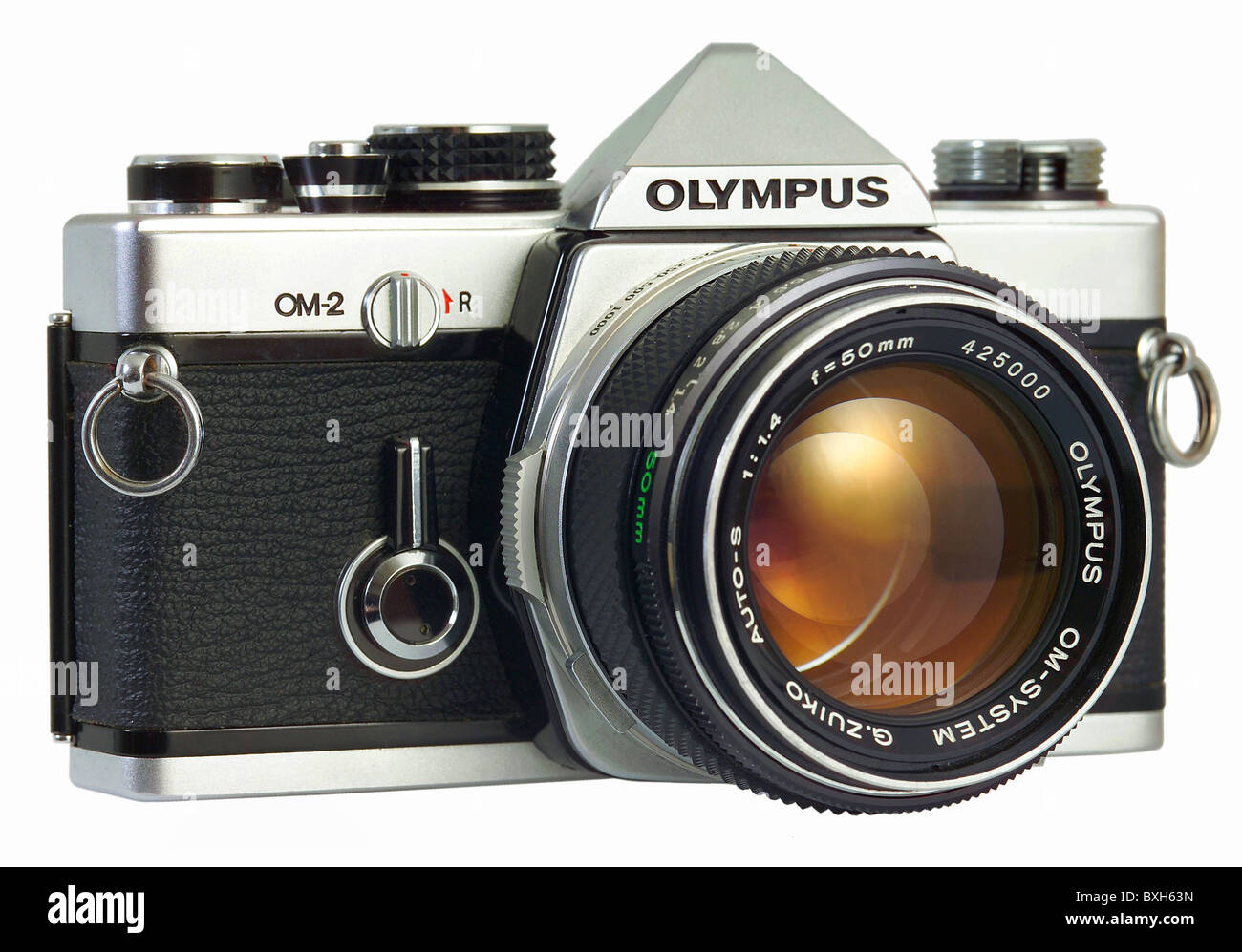 photography, cameras, Olympus camera OM2, first version with TTL flash, Japan, 1975, 1970s, 70s, 20th century, historic, - Stock Image