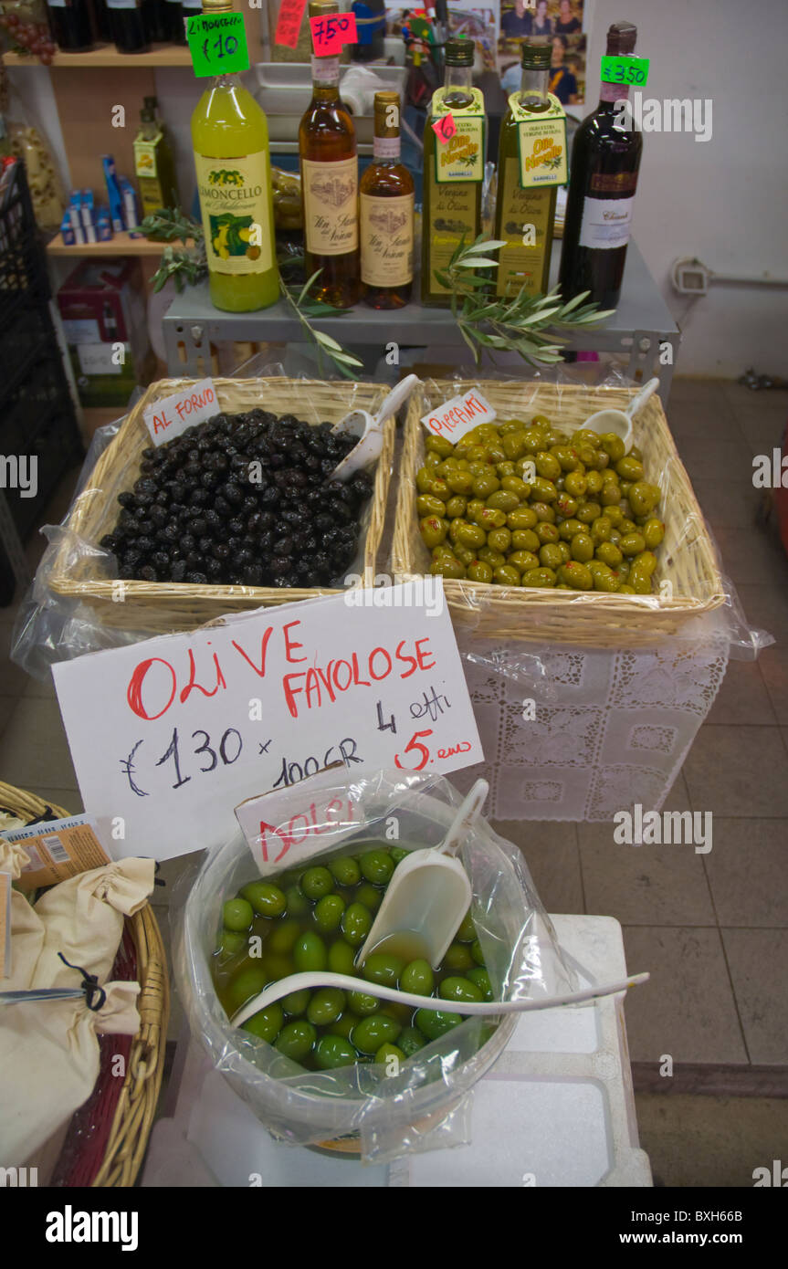 Olives inside Mercato Centrale the central market Florence (Firenze) Tuscany central Italy Europe - Stock Image