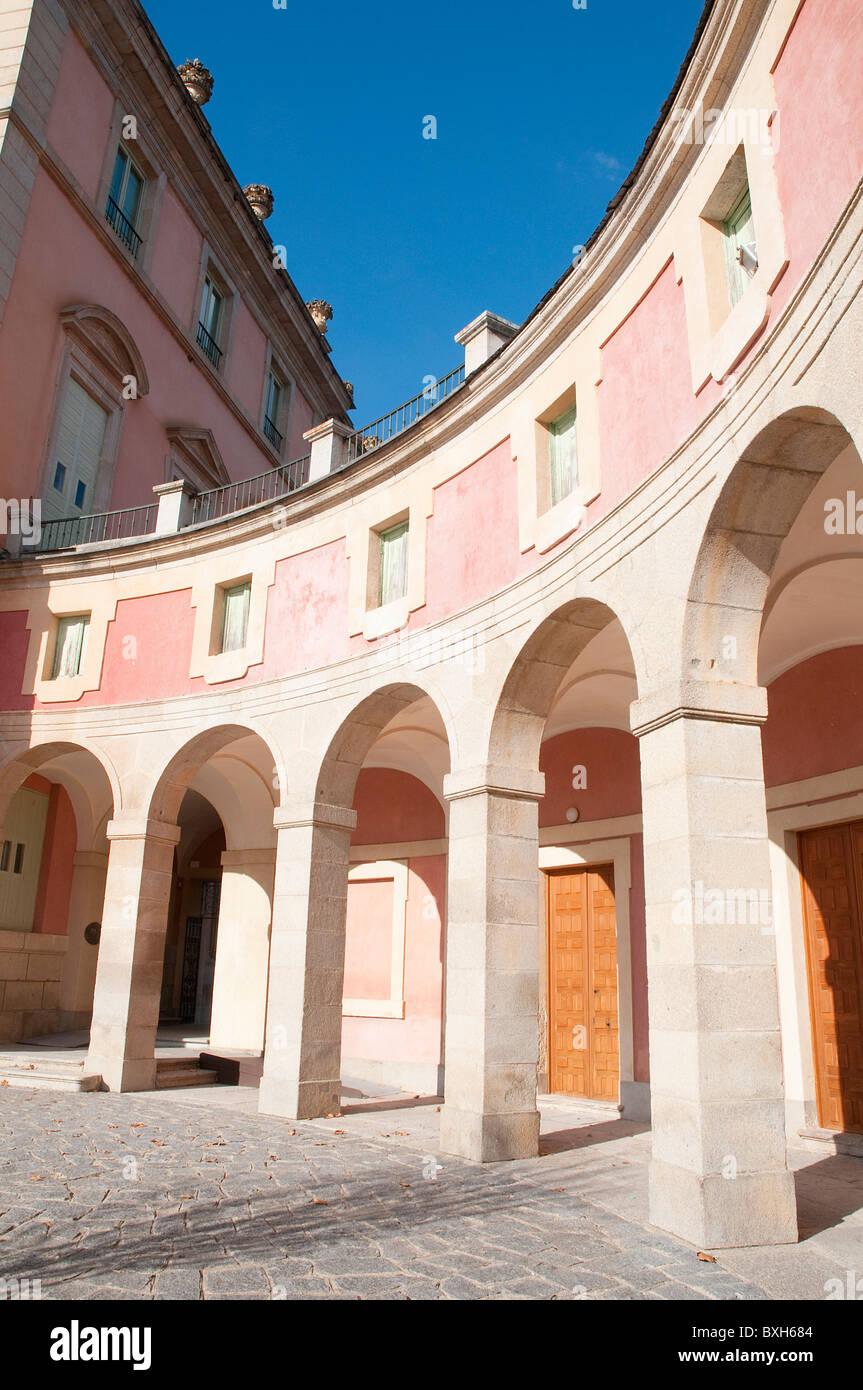 Arcade of the Royal Palace. Riofrio, Segovia province, Castilla Leon, Spain. - Stock Image