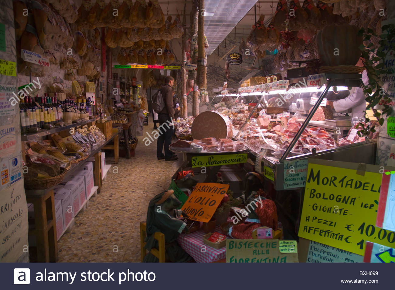 Shop inside Mercato Centrale the central market Florence (Firenze) Tuscany central Italy Europe - Stock Image