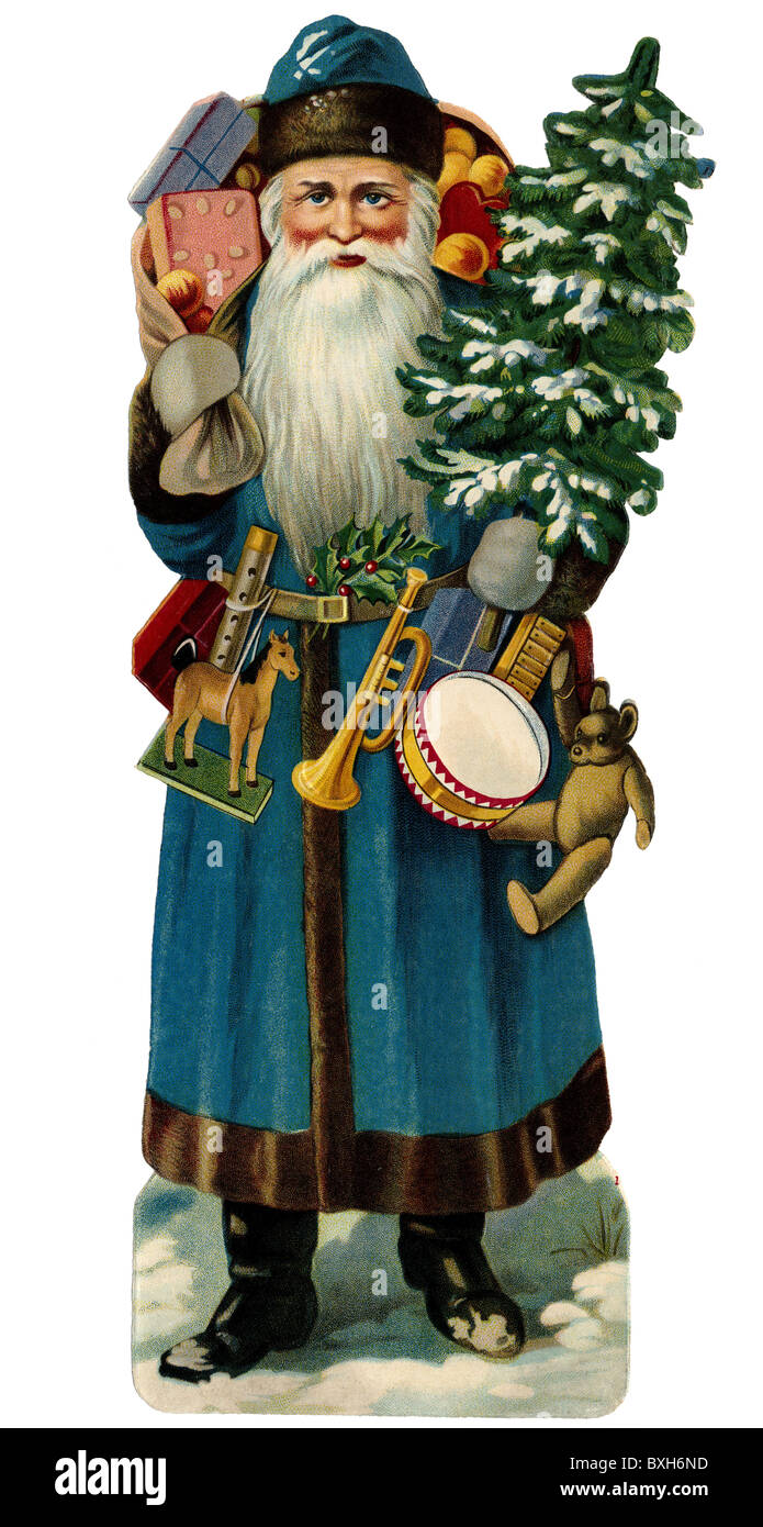 Tradition Folklore Germany Santa Claus Circa 1925 Father Christmas St Nicholas Sweets Fir Tree Blue Coat Gingerbread