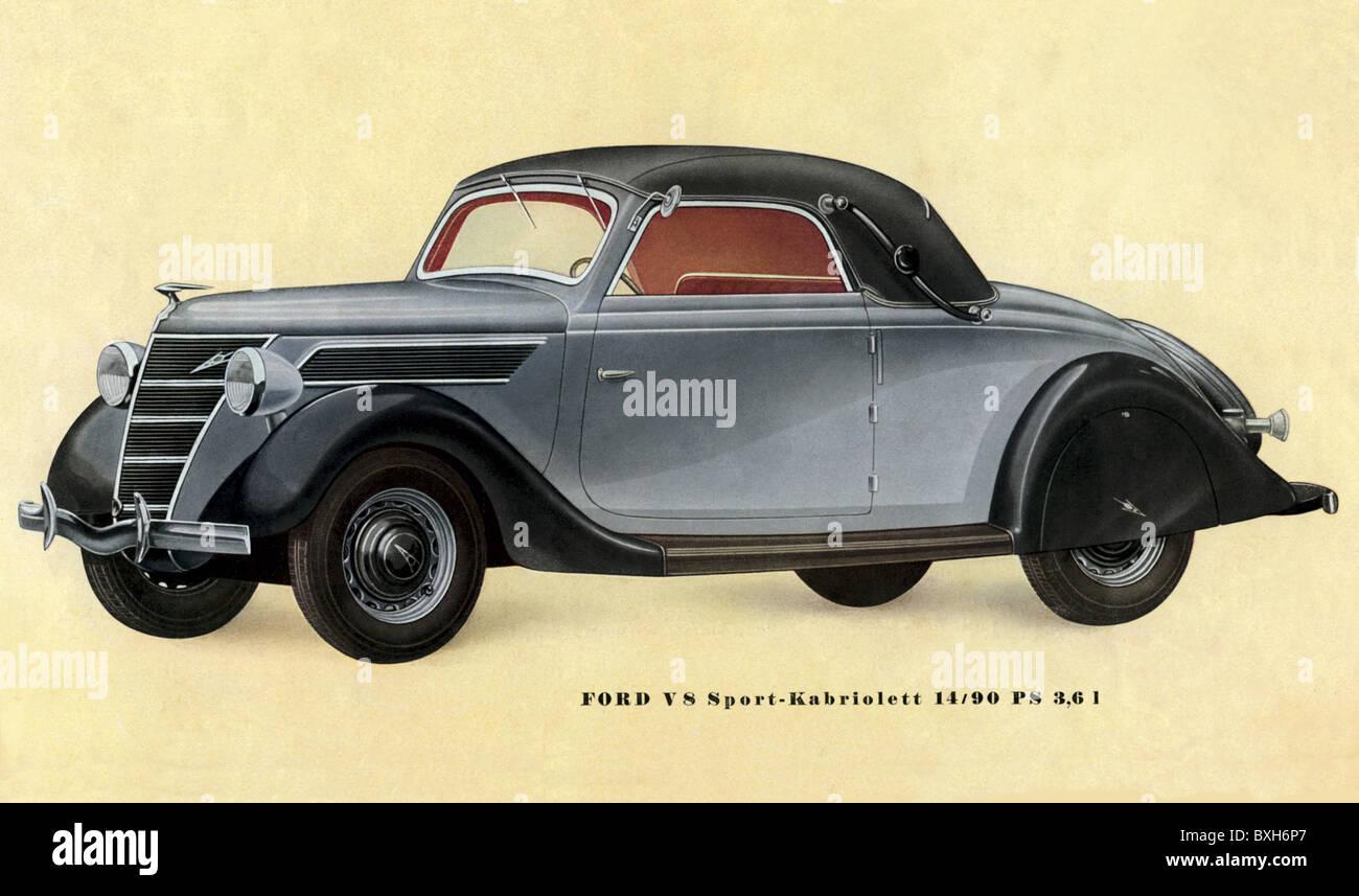 transport / transportation, car, vehicle variants, Ford, V8, Sport convertible 14/90 HS 3,6 l, brochure of the Cologne - Stock Image