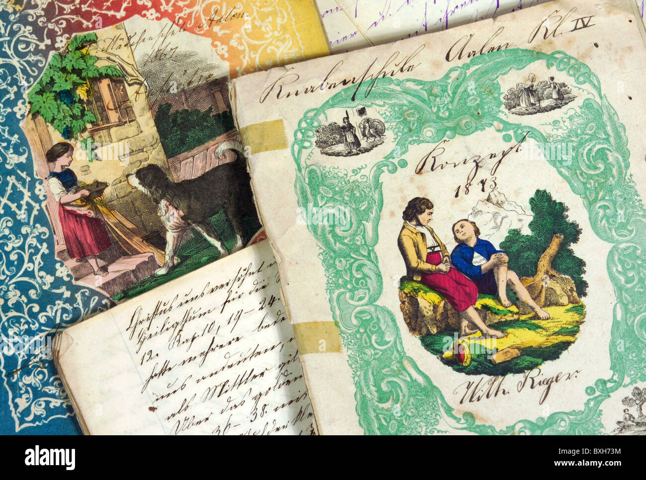 education, school, old exercise books, Germany, 1867 and