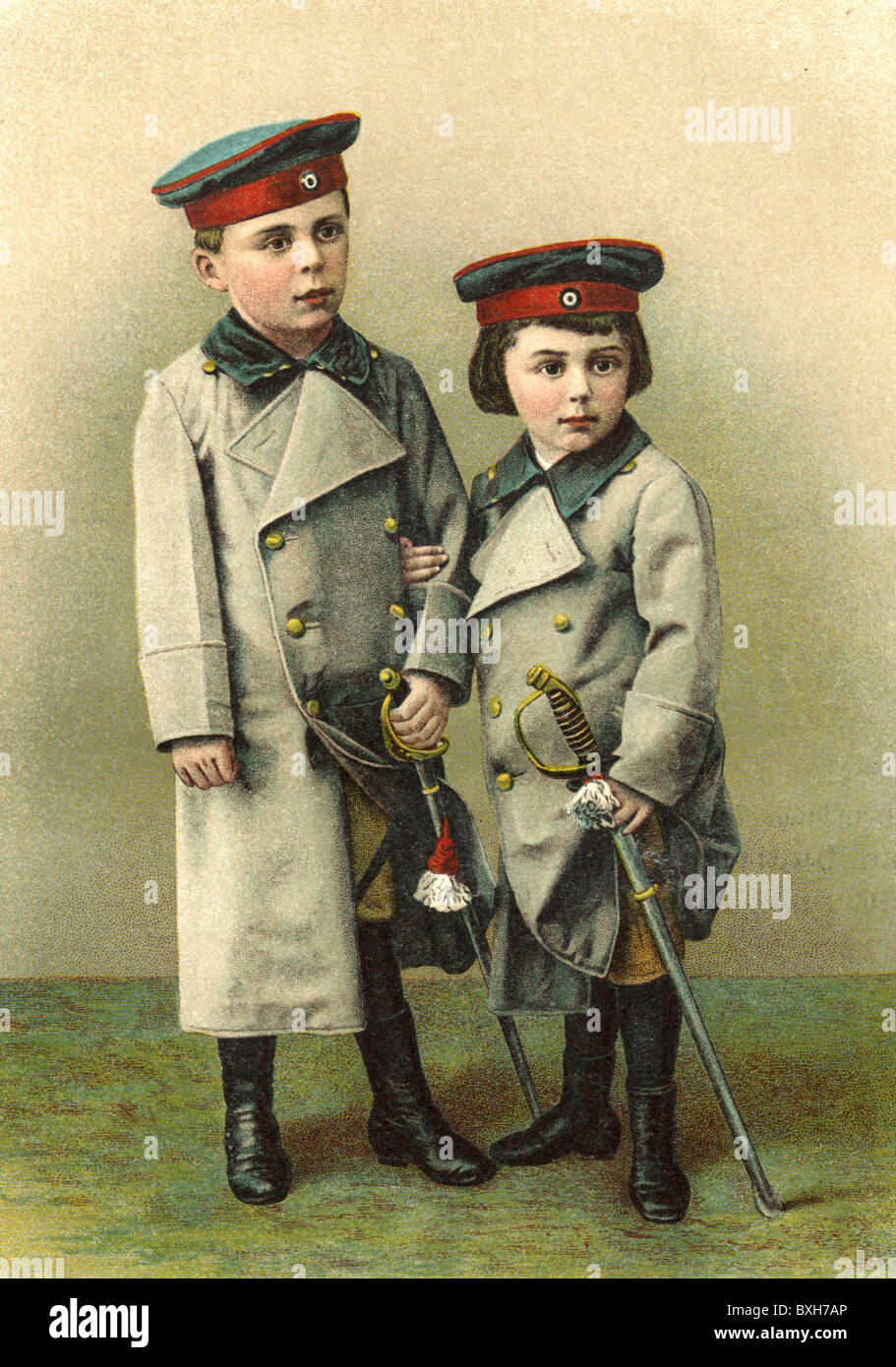military, soldiers, children in uniform, Germany, circa 1890, Additional-Rights-Clearences-NA - Stock Image