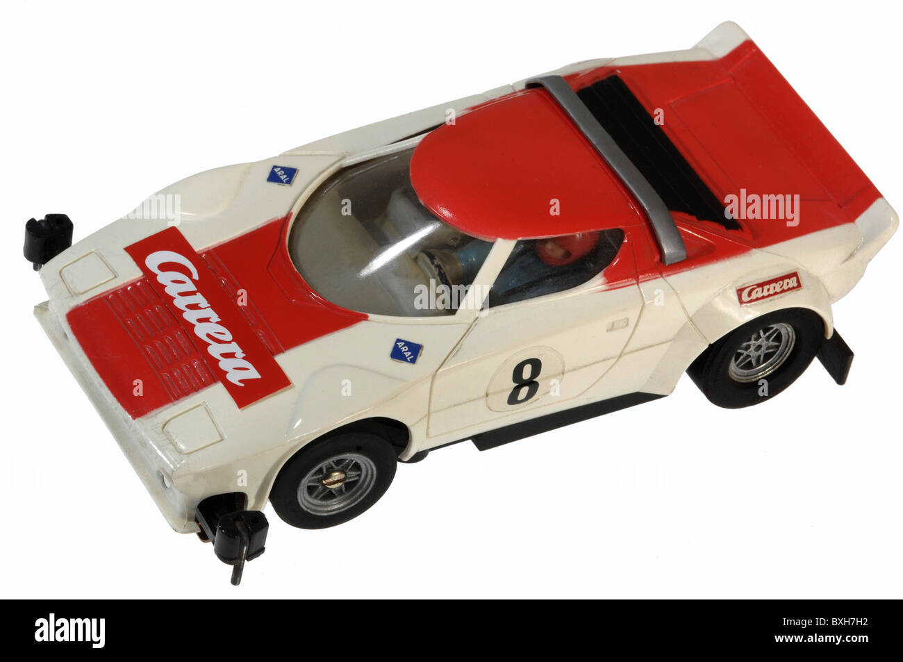 toys, toy cars, Carrera motor-racing circuit, Porsche racing car, Germany, circa 1978, Additional-Rights-Clearences - Stock Image
