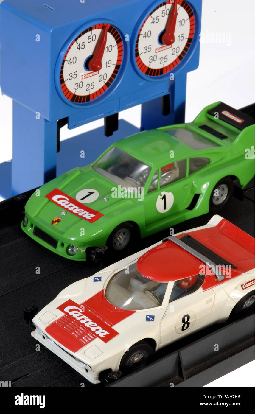 toys, toy cars, Carrera motor-racing circuit, Porsche racing cars, Germany, circa 1978, Additional-Rights-Clearences - Stock Image