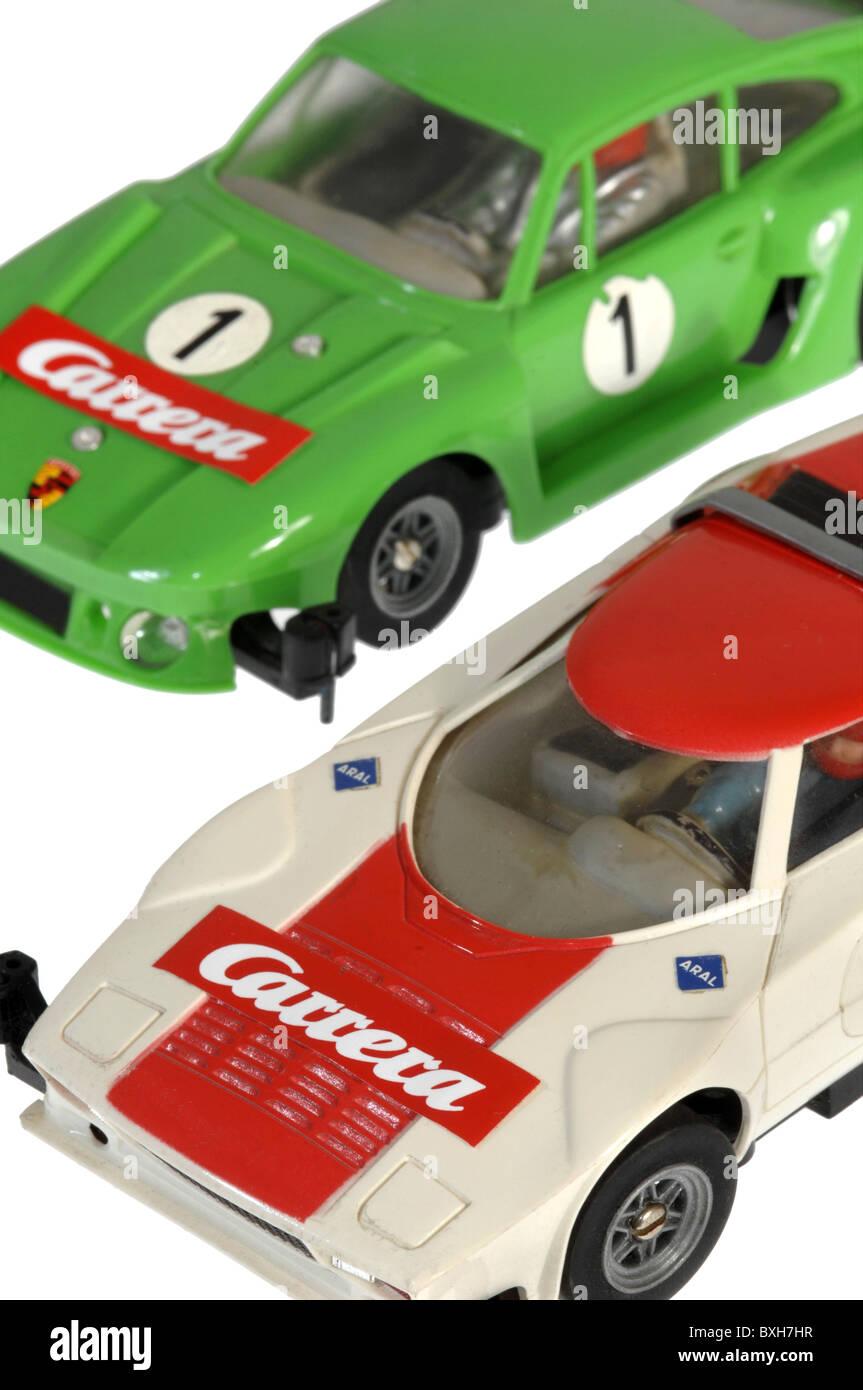 toys, toy cars, Carrera motor-racing circuit, Porsche racing cars, Germany, circa 1978, 1970s, 70s, 20th century, - Stock Image