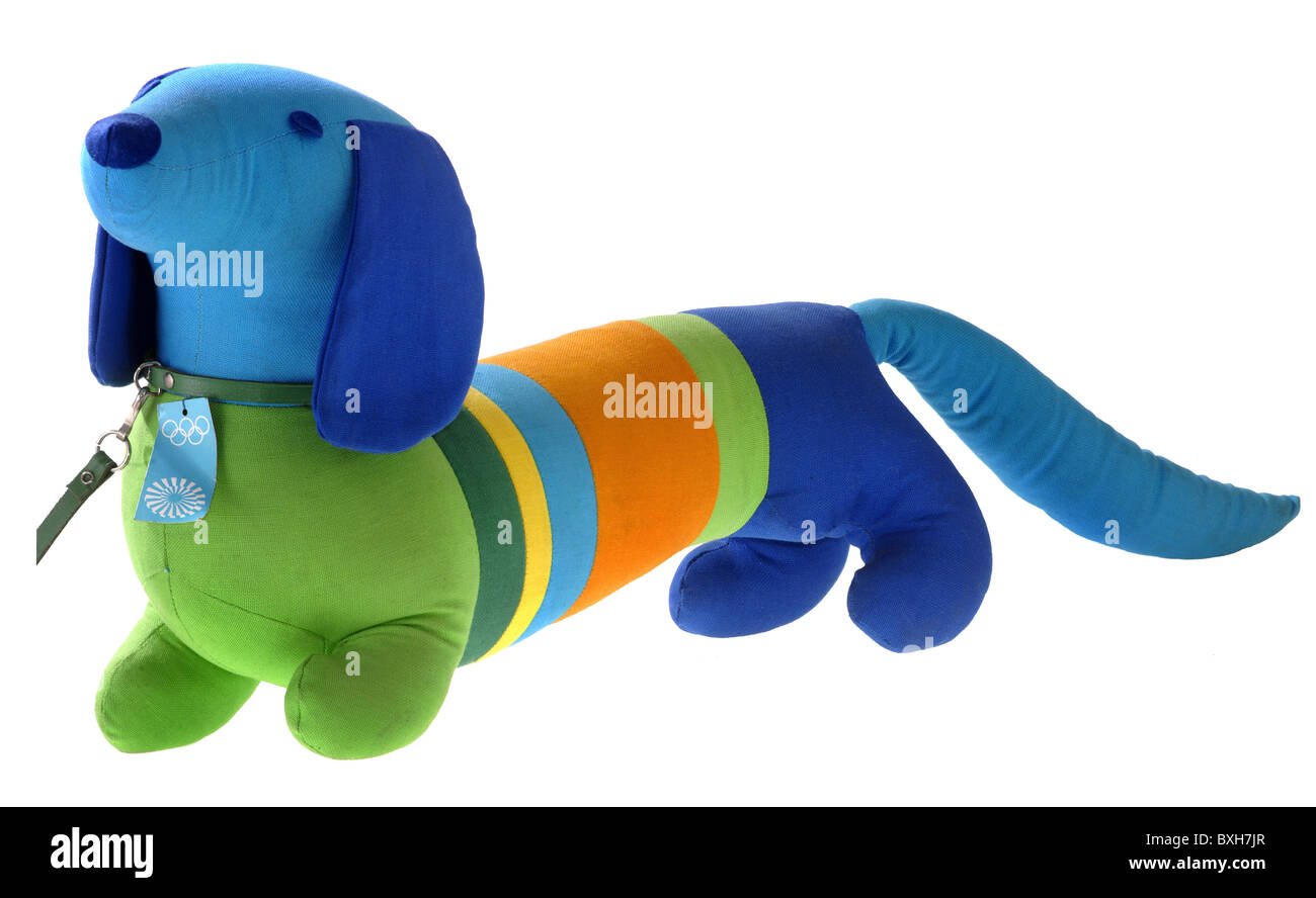 sports, Olympic Games, dachshund Waldi, official mascot, Munich, Germany, 1972, Additional-Rights-Clearences-NA - Stock Image