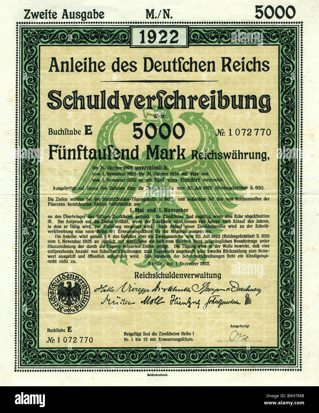 money / finance, banking / lending, government bond of the German Reich, 5000 Mark, Germany, 1922, Additional-Rights - Stock Image