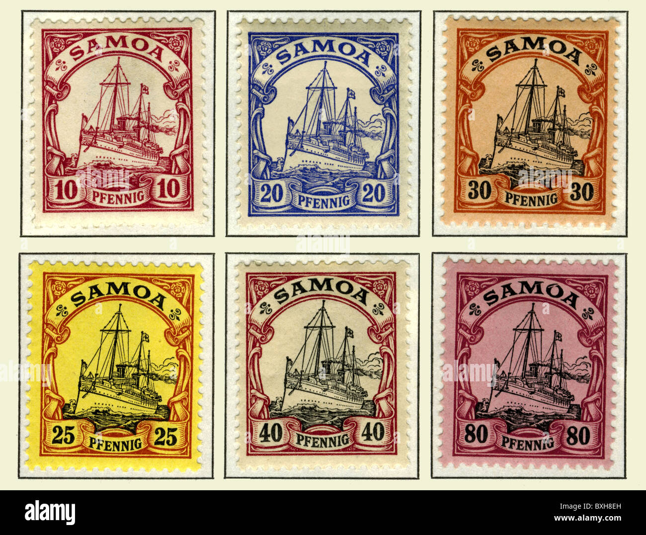 stamps, Samoa, mint, Germany, 1900, historic, historical, at the turn of the 19th / 20th century, German colony, - Stock Image