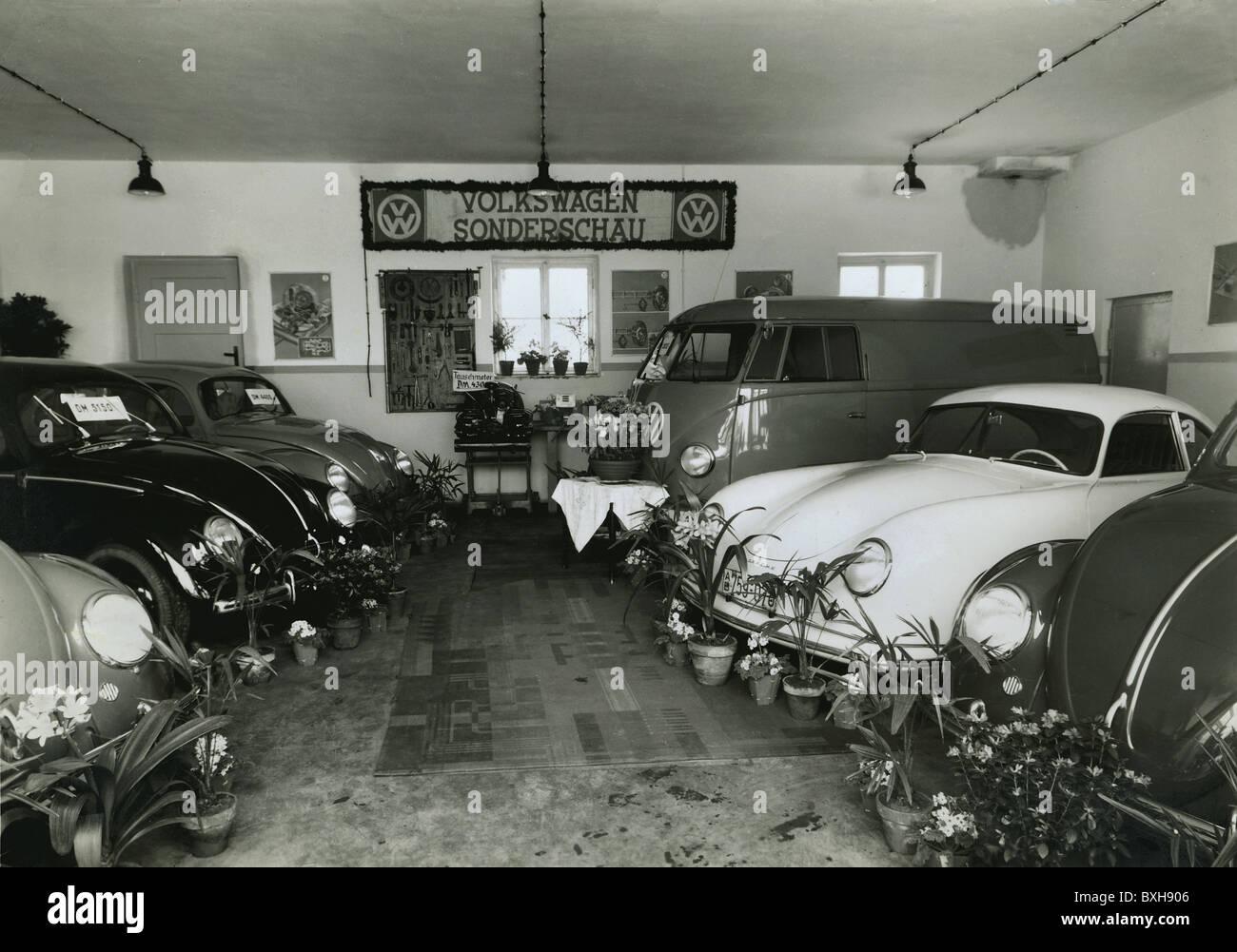 trade, shops, car dealer, Volkswagen dealer with cars, showroom ...