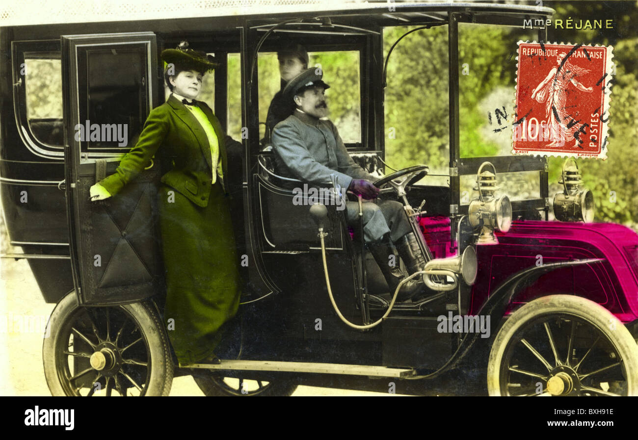 transport / transportation, car, woman with chauffeur, , France, circa 1909, Additional-Rights-Clearences-NA - Stock Image