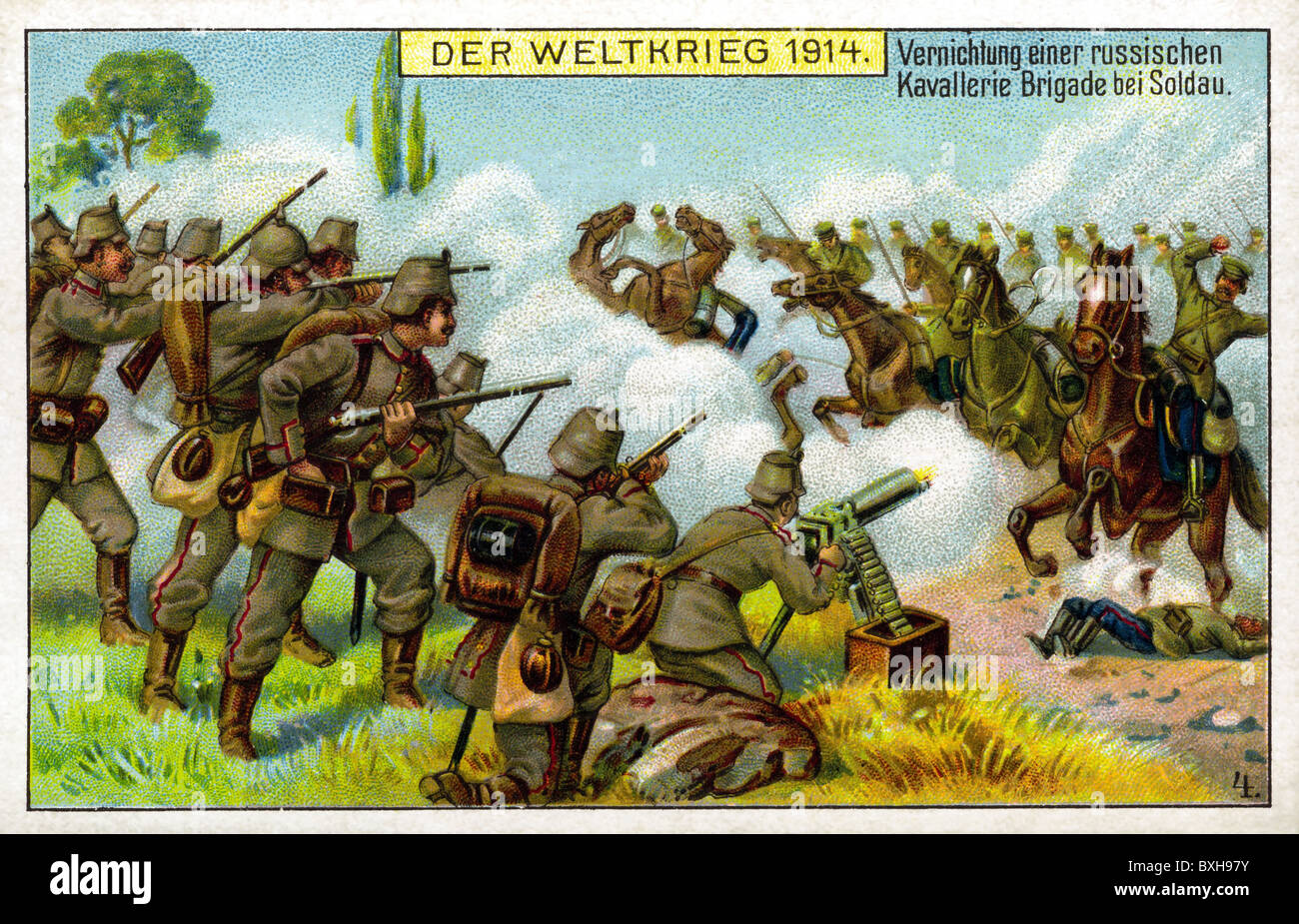 world war / WW I, German soldiers shooting at Russian cavalry, 1914, Additional-Rights-Clearences-NA - Stock Image