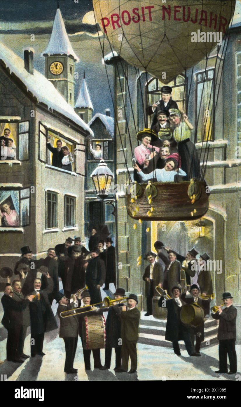 festivity, New Year's Eve, Prosit New Year, people celebrating in the streets, greeting card, Germany, 1911, - Stock Image