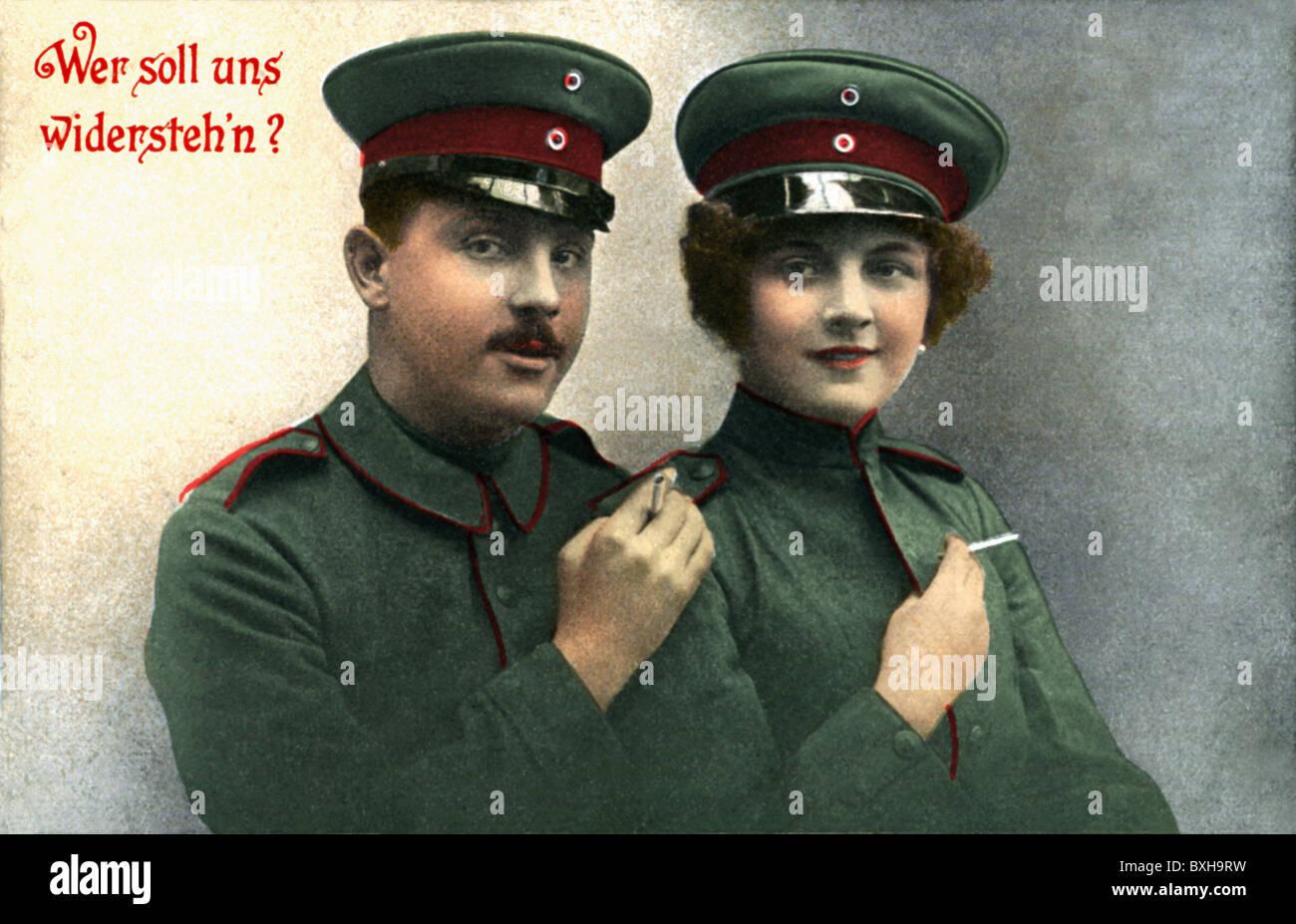 first world war /WWI/, world wars, 1st, couple in green uniform