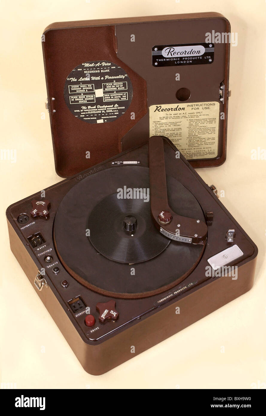 technics, record player, one of the first dictaphones, Recordon, made in England, 1935, Additional-Rights-Clearences - Stock Image