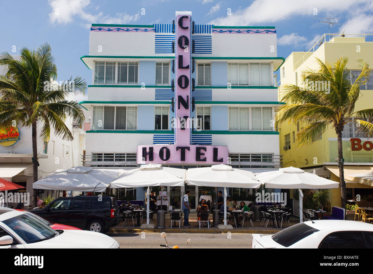 Colony Hotel art deco architecture on Ocean Drive, South Beach, Miami, Florida, United States of America - Stock Image