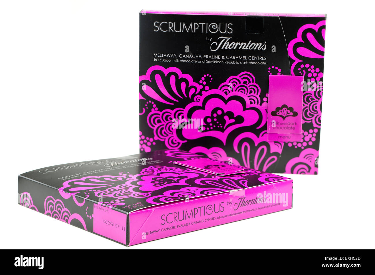 Two boxes of Scrumptious chocolates by Thorntons - Stock Image