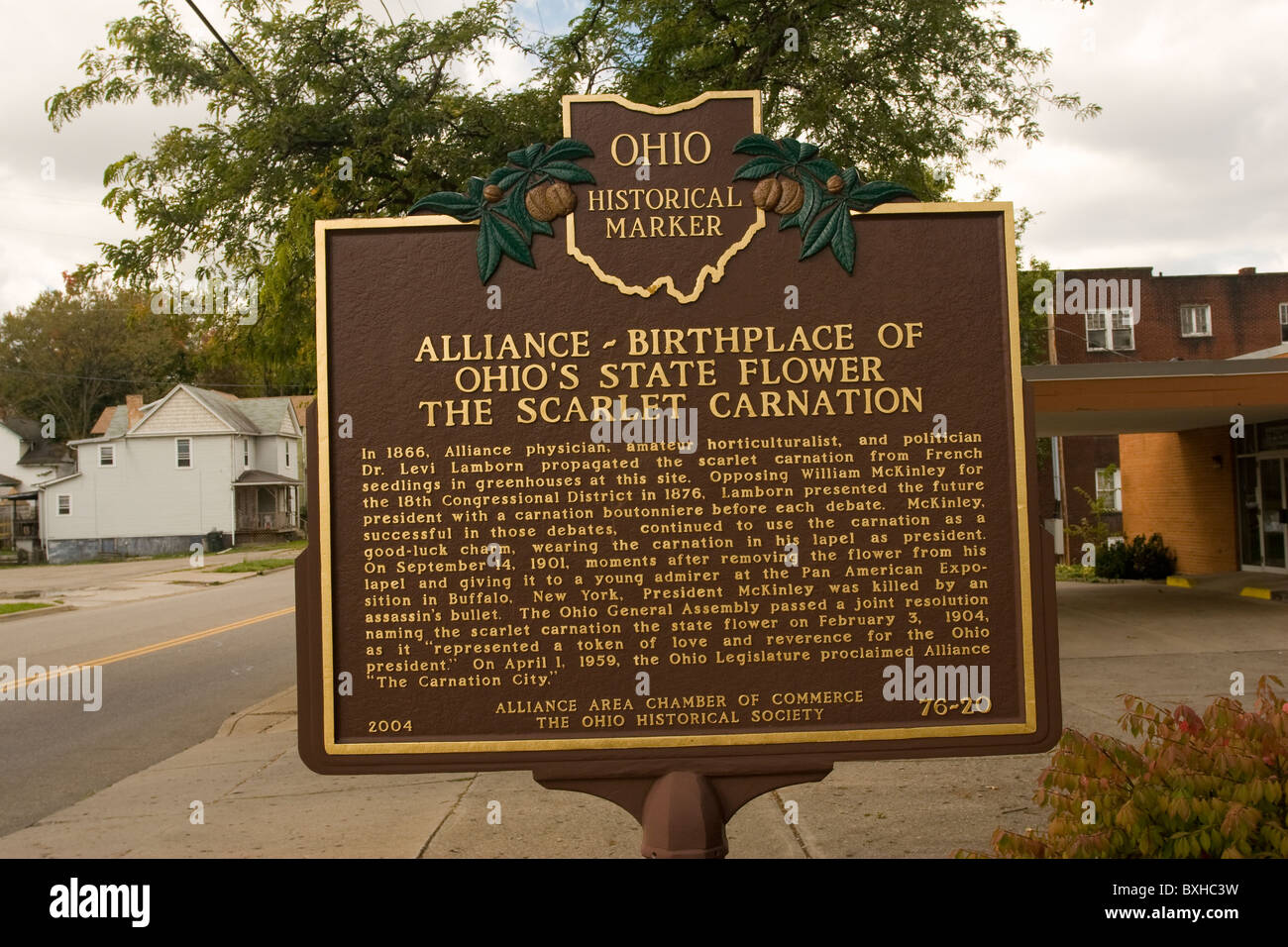 Historical Marker. Alliance Birthplace of Ohio's State Flower The Scarlet Carnation. - Stock Image