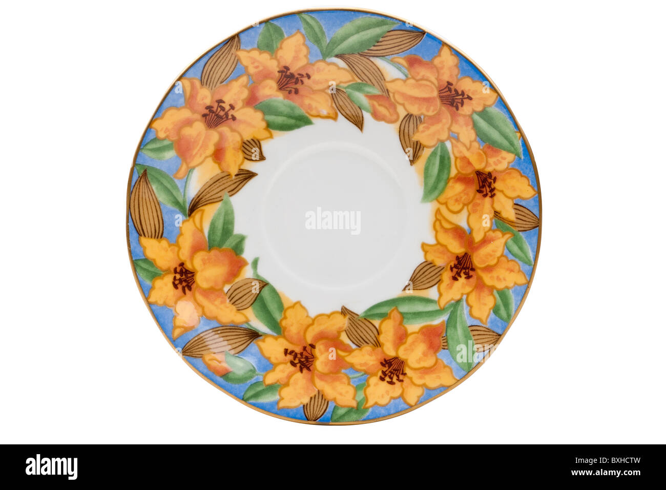 Art Deco flowered saucer - Stock Image