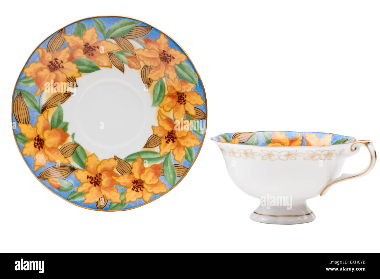 Art Deco flowered cup and saucer - Stock Image