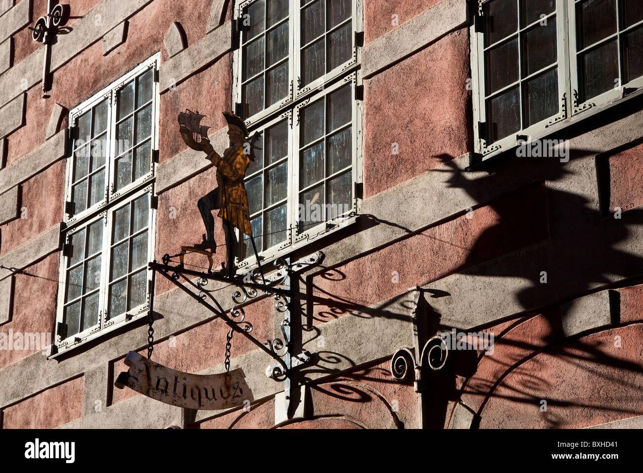 Antique shop sign Osterlanggaten Gamla Stan Stockholm Sweden - Stock Image