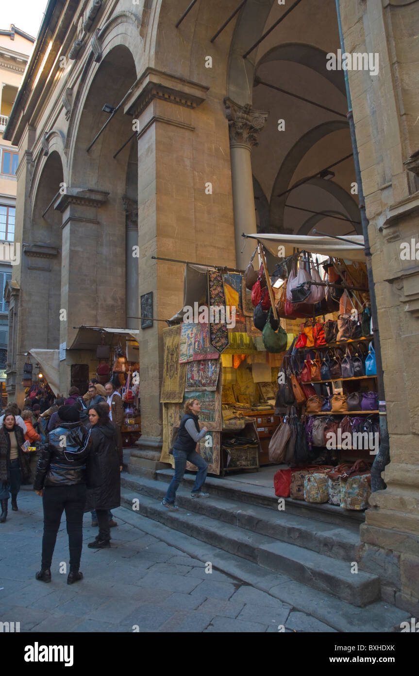 Mercato Nuovo market for tourists Florence (Firenze) Tuscany central Italy Europe - Stock Image