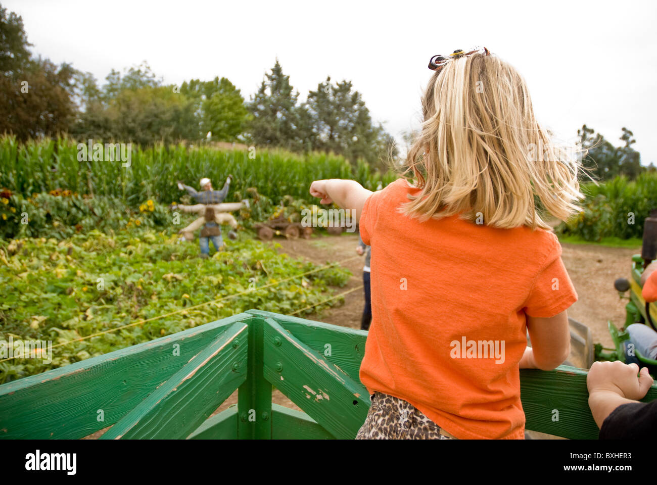 Young blonde girl pointing at scarecrow at farm Stock Photo