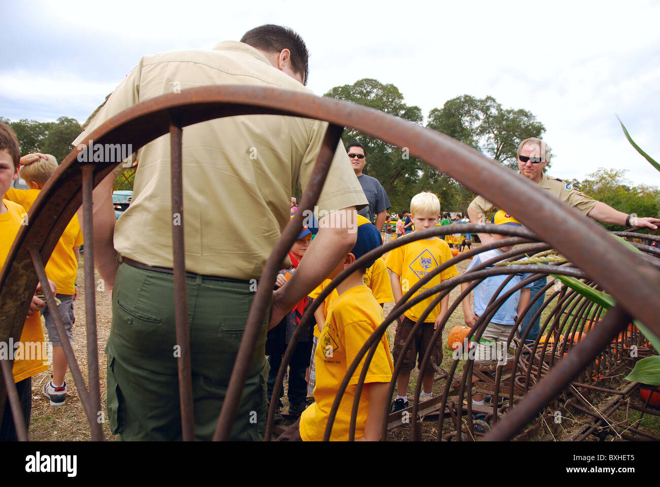 Cub Scouts on a field trip to a pumpkin farm Stock Photo