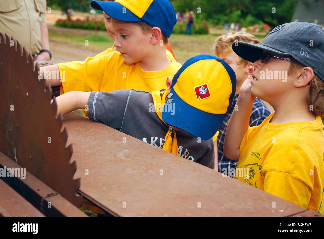 Cub Scouts on a field trip to a pumpkin farm Stock Photo
